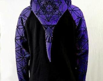 30% Off SALE! PURPLE-Men's Sacred Geometry Hoodie,- Metatrons Cube and Flower of Life print