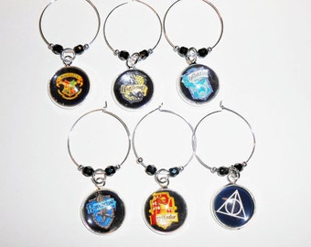 Harry Potter Wine Charms-Magnetic Wine Charms-Hoop Wine Glass Charms-Wine Markers-Magnetic Stemware Charms-Stemless Wine Charms-WCHP809G