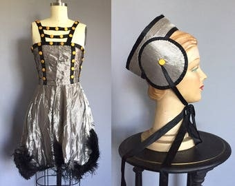 1920s Lamé Dance Costume with Feather Trim and Yellow Buttons  - Dress Headpiece Tap Pants - 20s Burlesque Flapper Stage Showgirl Lingerie