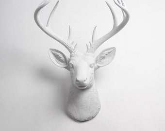 the xl templeton white faux taxidermy deer head white faux deer head white