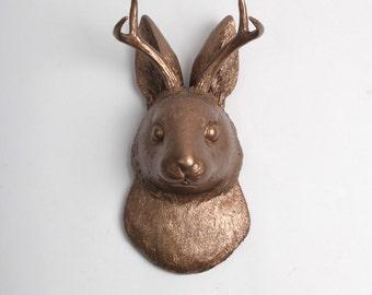 White Faux Taxidermy Jackalope - The Corduroy in Bronze -Faux Jackalope - Brozne Resin Jack rabbit Art - Bunny Mount -Animal Friendly Decor