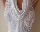 Gift for Her White Scarf Scarves Shawl Lace Scarf Fashion Accessories Fall Winter Scarf For Her Gift for Women Mom Teen Gift for Women