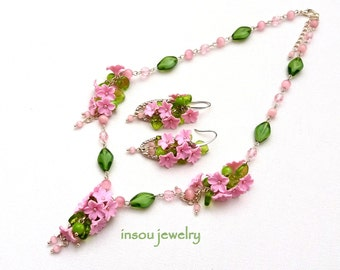 Pink Jewelry, Pink Necklace, Flower Necklace, Pink Flower Earrings, Spring Jewelry, Romantic Jewelry, Women Gift, Wedding Jewelry, Floral