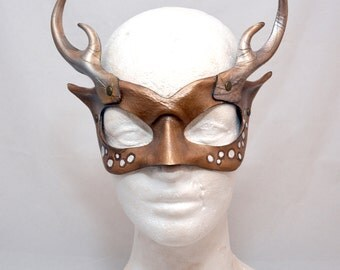 Golden Blonde Deer Stag Woodland Nymph Antlered Masquerade Cosplay Mask