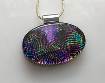 Dichroic Glass Pendant, Fused Glass Jewelry, Dichroic Rainbow Jewel Tones Cosmic Necklace