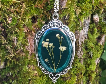 resin jewelry, dried flower necklace, unique jewelry with pressed flowers, resin flower jewelry, real flower necklace, nature jewellery