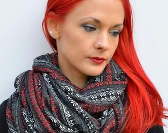 Nordic print scarf, blanket scarf, cowl scarf, shawl, grey infinity scarf, red scandinavian print, christmas scarf, girlfriend gifts