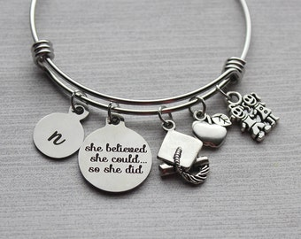 She Believed She Could So She Did Teacher Bracelet, Teacher Gifts, Teacher Gift Ideas, Teacher Jewelry, Graduation Gifts, Teacher Graduation