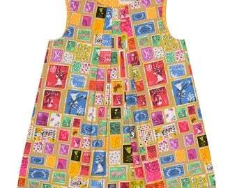 Vintage Postal Stamp Collection Handmade 'Mini Me' Little Girls Pleated Front Beatrice Shift Dress
