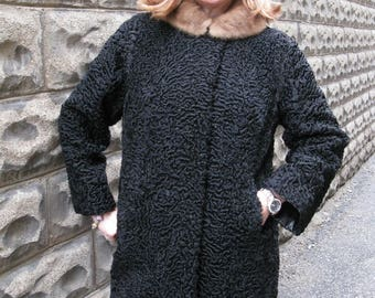 Black Persian Lamb Jacket Mink Fur Collar Gorgeous 1950's Classic Fur Coat