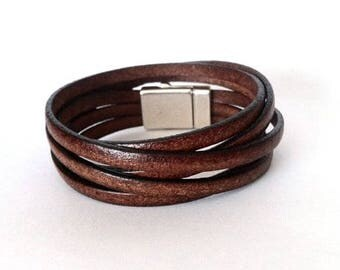 Wrap bracelet, leather bracelet, multi strand cuff, boho bracelet, bracelet  for men, cuf bracelet, boho jewelry, gift for him,
