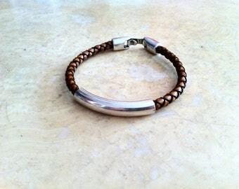 mens  leather bracelet, mens braided leather, personalized bracelet, Engraved bracelet, gift for dad, silver plated
