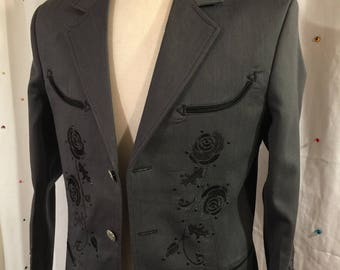 Men's grey rose western jacket - 38