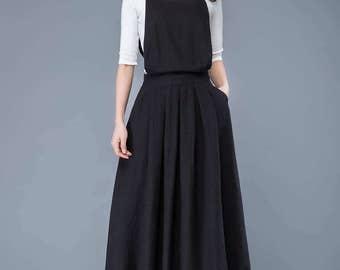 linen pinafore dress, black long suspender dress,linen dress women,overall dress, long linen dress, linen dress girl, long dress  C1053
