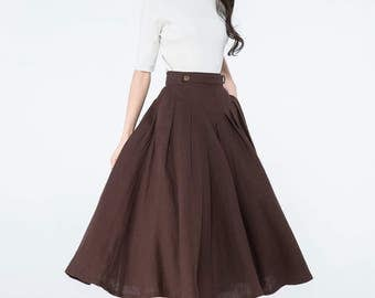 Brown linen skirts, pleated skirts, pleated maxi skirts, button skirt, accordion skirt, midi skirt with pockets, custom skirts    C1064