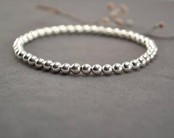 4mm Silver Bracelet, Sterling Bracelet, Silver Bead Bracelet, Silver Beaded Bracelet, Stackable Bracelet, Stretch Bracelet, Layering Jewelry