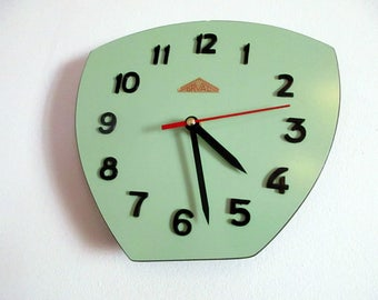 French 1950-60s Atomic Age ORVAL Formica Wall Clock - Jade Green - Funky Freeform Shape -  Formica Wall Clock - Great Working Condition