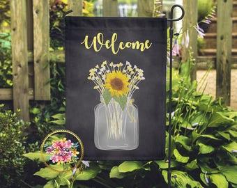 Sunflower Mason Jar Garden Flag   Welcome Sign   Shabby Chic   Home Decor    Wedding