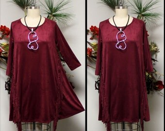 New Adorable, Suede Tunic, Western Wear Tunic, Fringe Detail Tunic, Maroon Dress, Suede Dress, Suede Top.
