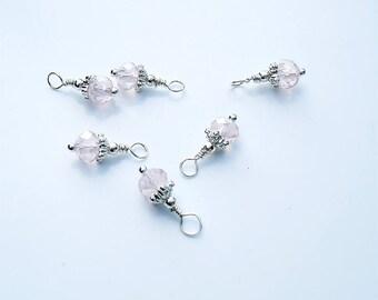 6PC. AB Pink Austrian Crystal Bead Dangle Charm//Handmade AB Crystal  Dangle Charms//15.5MM X 6MM Shiny Silver Tone Plated  Crystal Charms