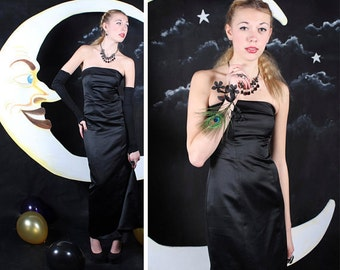 """90s Breakfast at Tiffany's MAX DRESS Vintage """"De Laru by Sheila Yen"""" Classic Black ladies strapless Bustier Glam High-Low Train Prom Gown XS"""
