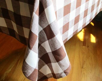 """Square Custom-made Tablecloth - Brown and White Checked Tablecloth - 58"""" Square - Chocolate Brown and White - Large 2"""" Check"""