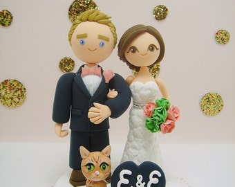 Cute couple with a cat custom wedding cake topper