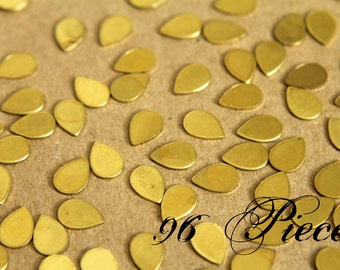 96 pc. Tiny Raw Brass Teardrops: 7mm by 10mm - made in USA   RB-293-4
