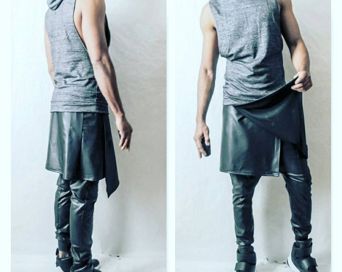 Mens Jogger With Kilt Overlay in Coated Jersey (Faux Leather Look) Stretchy One Fabric Rick owens