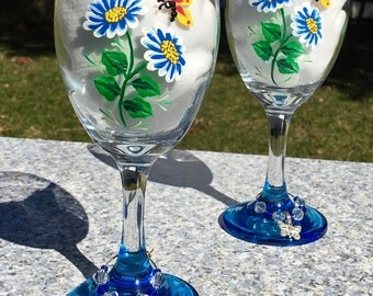 Wine Glasses Hand Painted Blue Flowers and A Butterfly, Set of 2-9 oz. Bestie Gift, Birthday Gift, Wedding Gift, Anniversary Gift