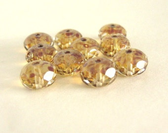 9x6mm Faceted Rondelle Crystal Picasso Czech Beads Glass 15pcs