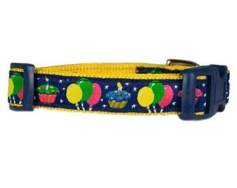 "Birthday Dog Collar 5/8"" or 3/4"" Small Yellow Dog Collar"