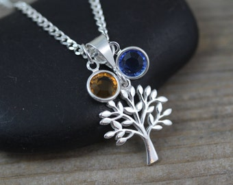 Sterling silver Family tree Necklace, Family tree jewelry, Engrave family necklace personalized initials, Grandmother necklace, Mothers Gift