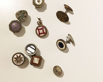antique edwardian cuff link lot, no matches, but great collection to mix and match