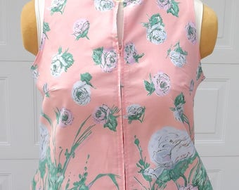 Vintage 1960's Shift Dress Peach With Pink and Blue Flowers