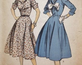 1950s Advance 6997/ Shirtwaist Dress/ Gored Skirt /Flared Skirt / Vintage Dress Pattern /Bust 34