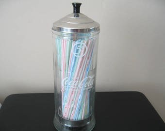 Retro Diner Style Coca-Cola Glass Straw Dispenser
