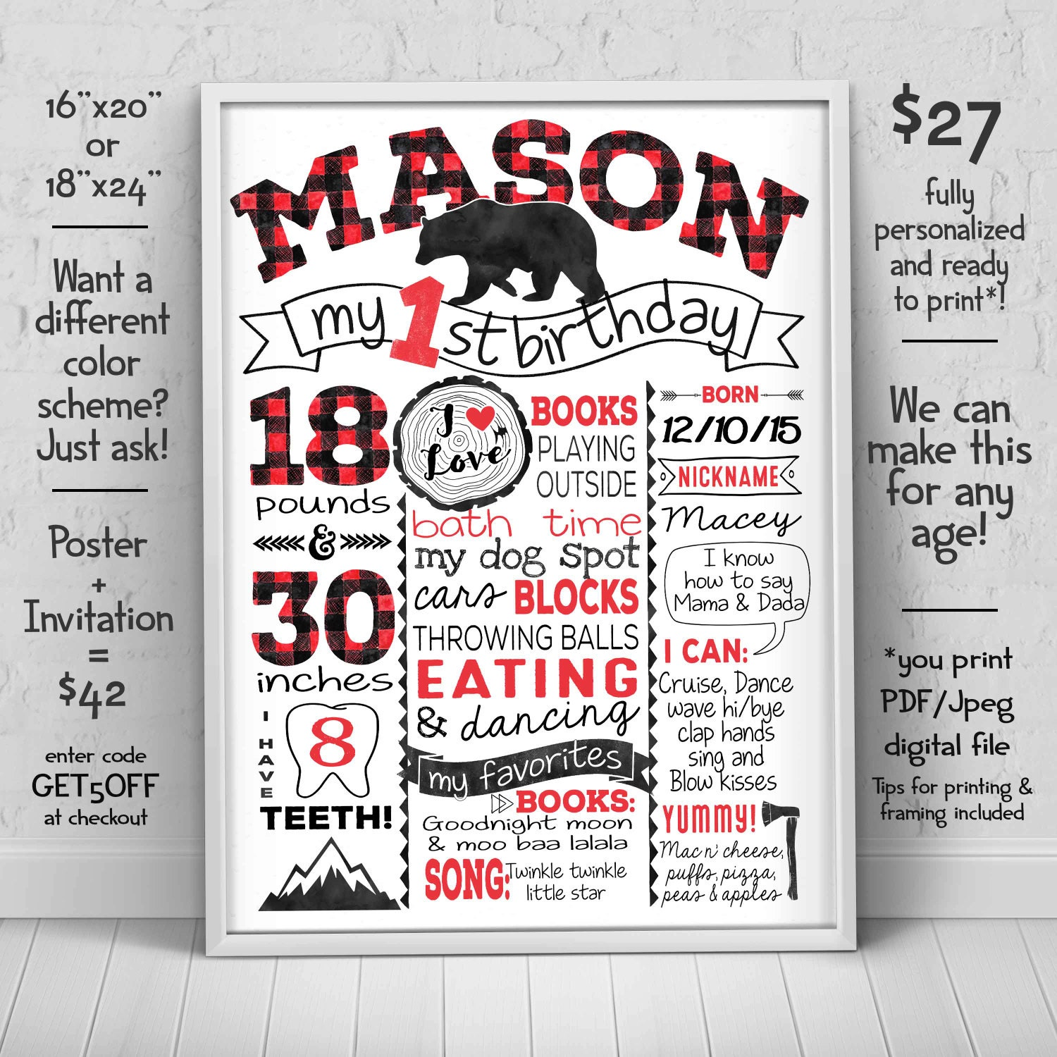 1 birthday chalkboard sign lumberjack first birthday poster