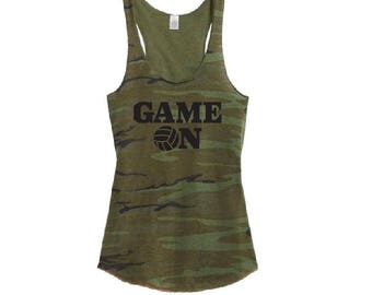 Game On Volleyball Camo Racer back Tank Top Shirt - Womens Tee. Camoflauge Shirt
