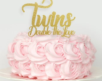 Twins Double the Love Cake topper, Twins baby shower cake topper, Twin babies cake topper, baby shower decorations,  twin cake topper