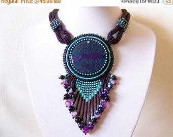 15% SALE Bead Embroidery Necklace Pendant Beadwork Necklace with Agate - MYSTICAL LIFE - purple and mint necklace - statement necklace
