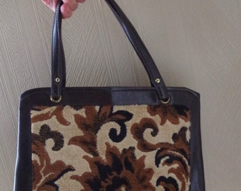 Fabulous Vintage 1970s Carpet Purse Hand Bag Excellent Condition