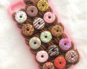 Sweet Donut Deluxe iphone 7 case/Handmade decoden doughnut miniature pastry polymer clay fimo/mobile phone accessory /frosting whipped cream