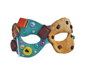 CANDY - Ice Blue Glitter and Sweetie Masquerade Mask