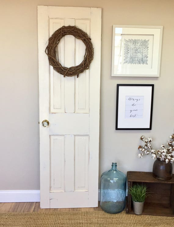 White Interior Wood Door - Fixer Upper Decor - Distressed Door - Bedroom Door - Restore Home