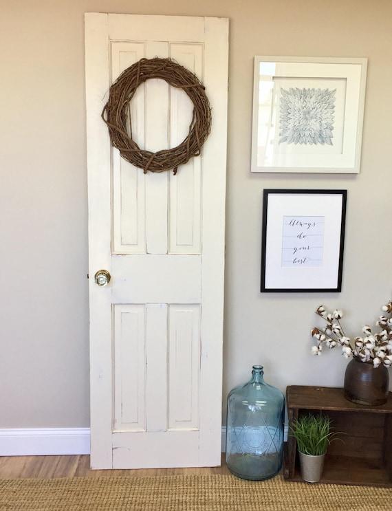 Vintage white interior wood door fixer upper decor distressed door bedroom door r the for Distressed wood interior doors