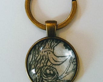 Bird Keyring, Gray Nesting Bird Keychain Pendant, Antique Bronze Glass Keyring, Bird Fabric Keyring
