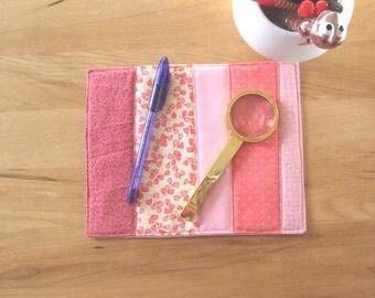 Mug rug - reusable snack mat - mini quilt - thank you gift - desk accessory - large fabric coaster - dresser mat - candle mat - MRUG25 pink