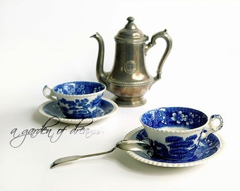 Spode Blue Tower tea cup and saucer set classic blue white transferware Copeland china England gadroon edge old mark tea service tableware