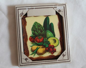 Vintage 70's Laquered Rustic Wood Plaque Vegetables ~New in Box~